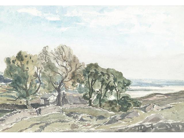 Claude Muncaster (British, 1903-1974), Sketch of Lower Rake, Sussex 21 x 28cm.