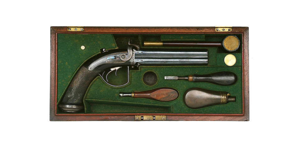 An Extremely Rare 28-Bore Four-Barrelled Percussion Turn-Over Pistol