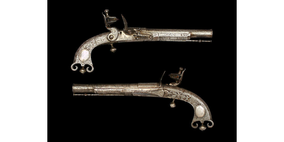 A Pair Of Scottish 25-Bore All-Metal Flintlock Belt Pistols