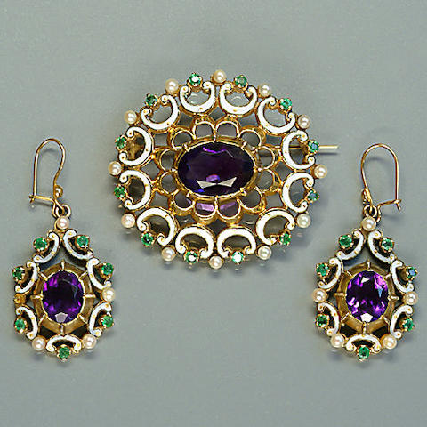 An amethyst, emerald and seed pearl demi-parure