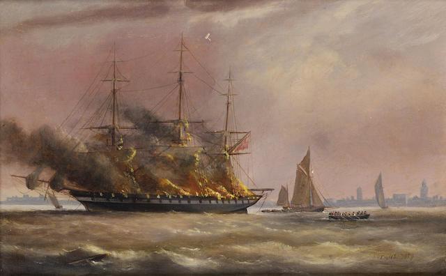 "Arthur Wellington Fowles (British, 1815-1883) The ""Eastern Monarch"" ablaze in Spithead, 3rd June 1859 20.3 x 30.5cm. (8 x 12in.)"