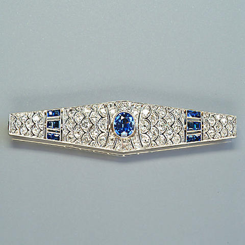 An early 20th century sapphire and diamond bar brooch,, French,