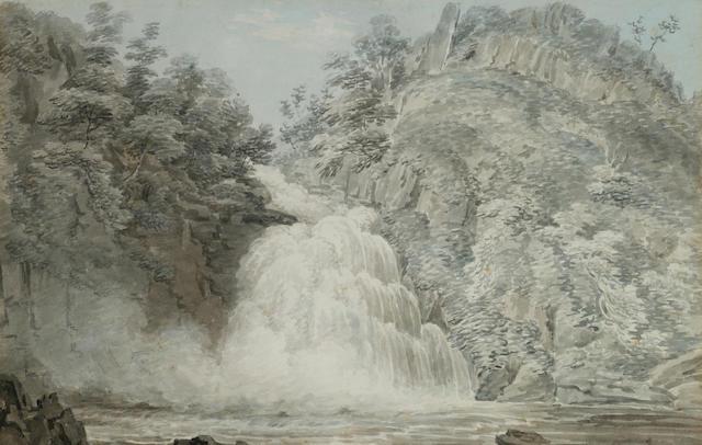 Edward Dayes (British, 1763-1804) Rhyder Falls, Radnor, Wales 24 x 37.5 cm. (9 1/2 x 14 3/4 in.)