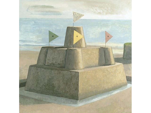 David Inshaw (British, b.1943) Sandcastle 58.5 x 58.5cm (23 x 23in)