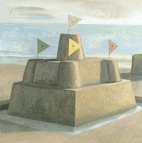 David Inshaw (British, b.1943) Sandcastle 58.5 x 58.5cm (23 x 23in)
