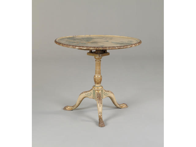 An 18th century green painted circular tilt topped tripod table
