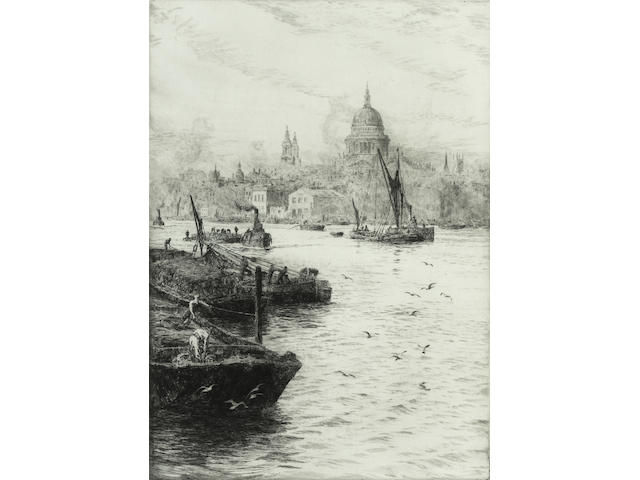 William Lionel Wyllie St Paul's from the Thames Etching, on wove, with margins, signed in pencil; apparently in good condition, unexamined out of the frame, 348 x 248mm (13 3/4 x 9 3/4in)(PL)
