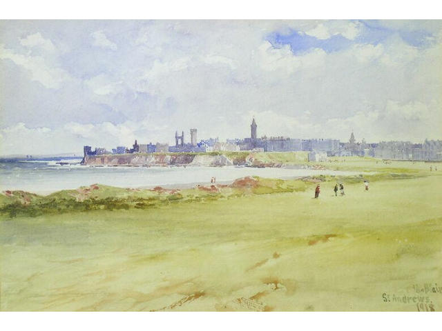John Blair: 'St Andrews' C. 1918, a fine watercolour showing several golfers on the links, the shoreline and the town in the background, signed, dated and framed. 26 x 18cm