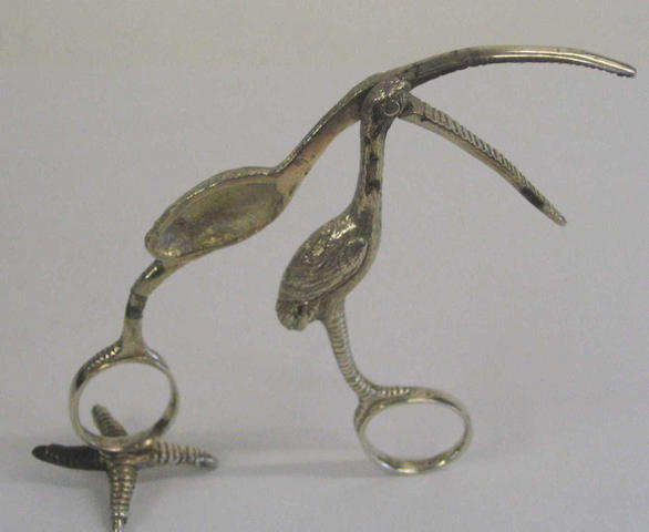 A pair of Victorian stork ribbon pullers By Rawlings and Summers, 1853,