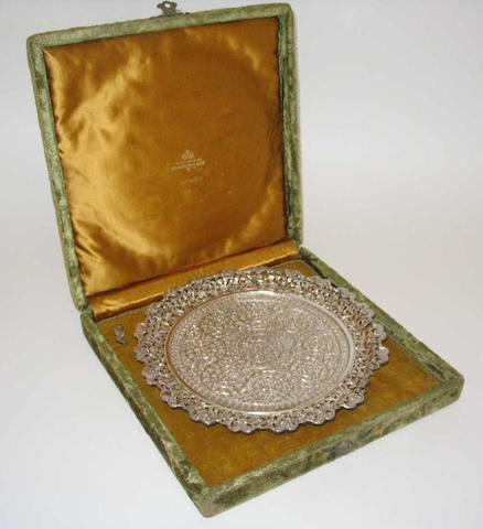 An Eastern white metal salver