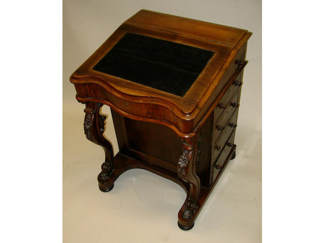 A mid-Victorian rosewood Davenport,