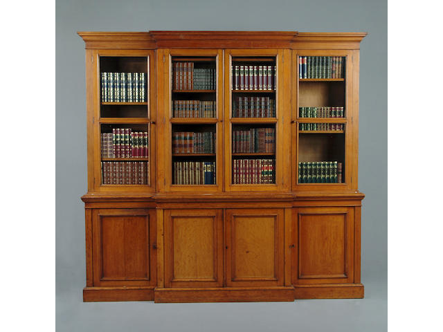 A Victorian oak library breakfast bookcase