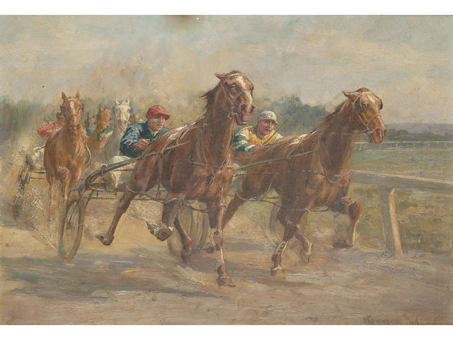 William Hounsom Byles (British, exh.1890-1916), A carriage race, signed, oil on board, 26.2 x 37cm.