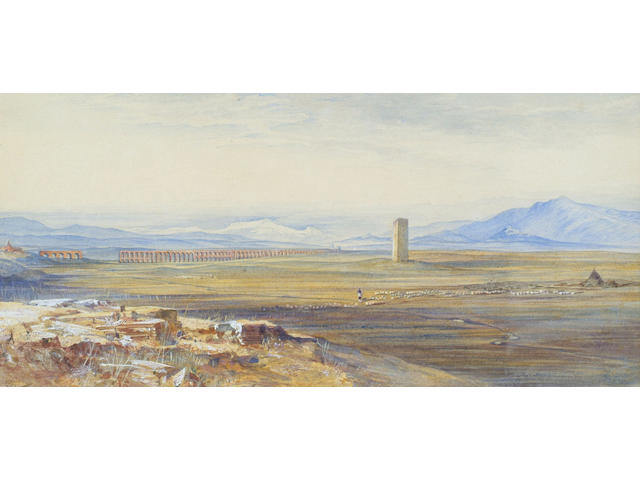 Edward Lear (1812-1888) 'Campagna di Roma, Alexandrine Aqueduct' 17 x 37cm (6 1/2 x 14 1/2in)