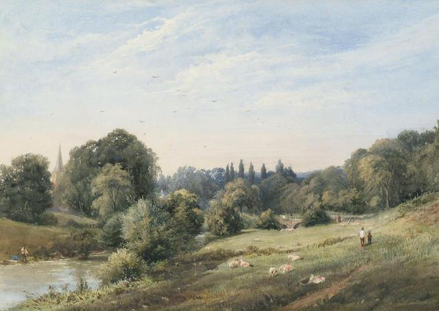 George Arthur Fripp (1813-1896) 'River meadow', 32 x 45cm