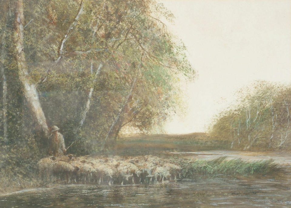 Frederick Hines (19th/20th Century) 'Driving the flock' and 'A winter pool', 26 x 36cm )10 x 14in)