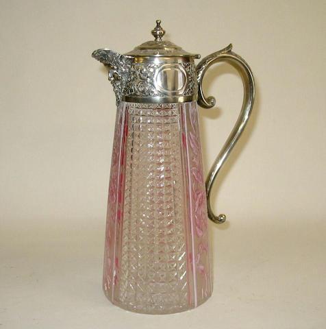 A Stourbridge Medallion cameo and silver mounted claret jug