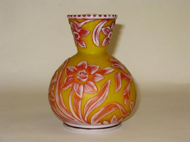A Stourbridge three-colour cameo glass vase