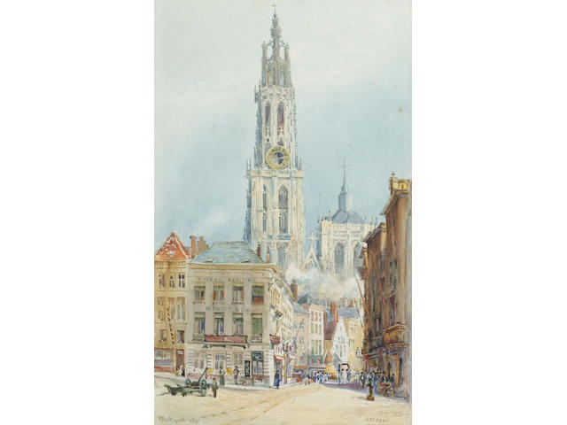 Sir Hubert Medlycott (1841-1920) 'Antwerp' and 'Antwerp spire', 36 x 22cm (14 x 8 1/2in)