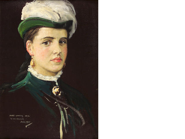 Sir John Lavery, RA RHA RSA PRP HROI LLB (1856-1941) Head and shoulders portrait of Jane Lavery in green, with plumed hat 50 x 35cm (20 x 14ins)