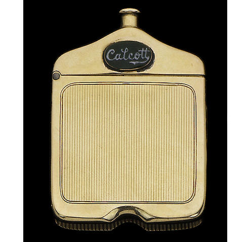 Automoblia interest: A fifteen carat gold and enamelled car radiator vesta case, by H C Freeman Ltd, Birmingham 1923,
