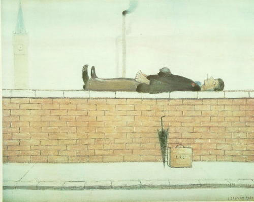 Laurence Stephen Lowry (1887-1976) 'Man on a Wall' 40 x 50cm.