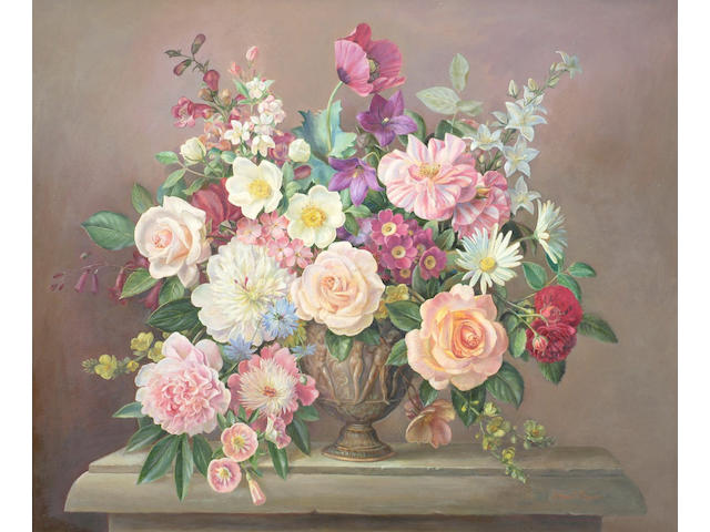 Ernest Payne (20th Century) 'Still life of summer flowers', 62 x 74cm (24 x 29in)