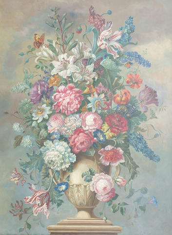 English School (20th Century) 'Mixed garden flowers in a classical urn', 100 x 75cm (40 x 30in)