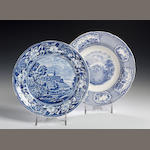 A blue and white pottery Plate, 19th Century, possibly Verreville,