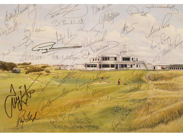 A limited edition Graeme Baxter print 'Royal Birkdale' 1989, signed by the artist, autographed by thirty-six competitors who were playing in the 1991 Open including some Open Champions including Nick Faldo, Seve Ballesteros, Jack Nicklaus, Tom Weiskopf, Tom Watson, Lee Trevino and Gary Player together with a photograph of the Royal Birkdale Golf Club Head Starter who asked the players to sign it before teeing off at the first hole. Framed and glazed.