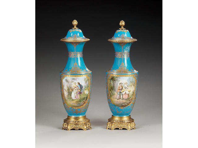 A pair of Sevres style turquoise ground gilt metal mounted vases and covers, circa 1870,