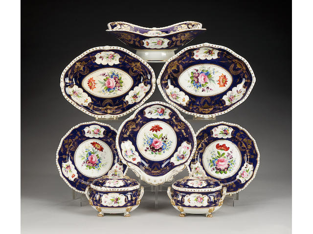 A Derby dark blue ground part dessert service, circa 1825,