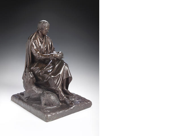(After?) Sir John Steell RSA, 1804-1891, A bronze statue of Sir Walter Scott,