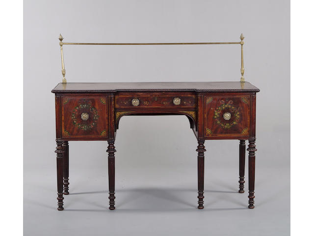 A 19th century mahogany and later painted sideboard