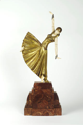 Dimitri Chiparus 'Testris' a Large and Impressive Patinated Bronze and Carved Ivory Figure, circa 1925