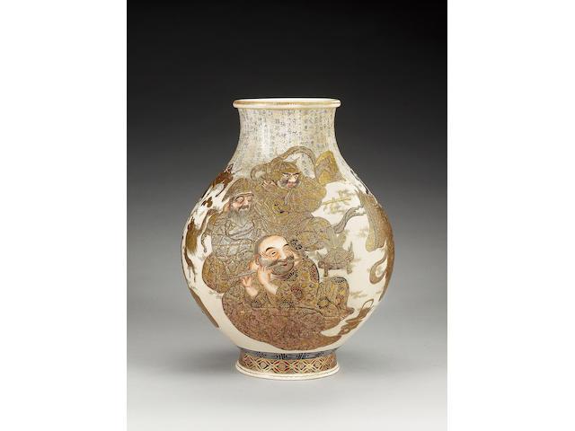 A Satsuma vase decorated,