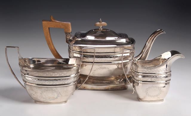 A George III four piece Tea Service,  by John Zeigler, Edinburgh 1806,