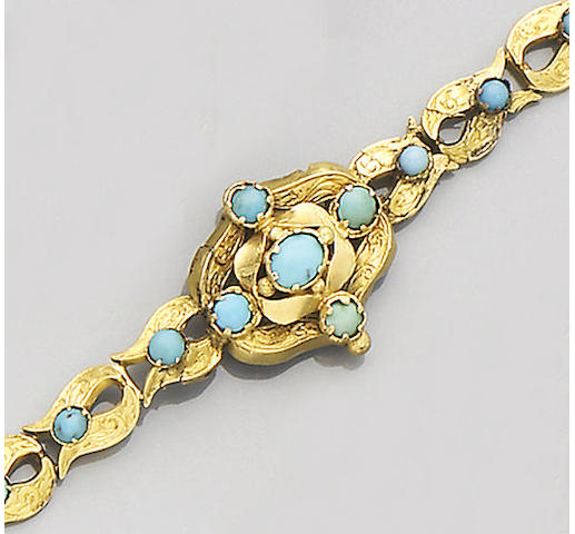 A mid-19th Century turquoise and gold bracelet,