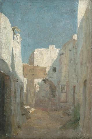 19th/20th Century Street scene in North Africa unframed 36 x 24cm (14 x 9 1/2in)