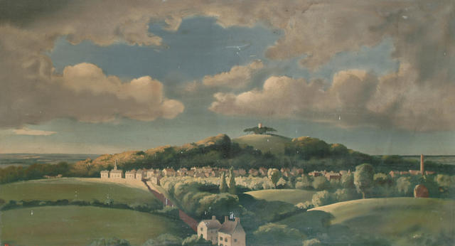 After Lord Gerald Berners (British, 1883-1950) Country landscape with distant village 56 x 100cm (22 x 39 1/4in)