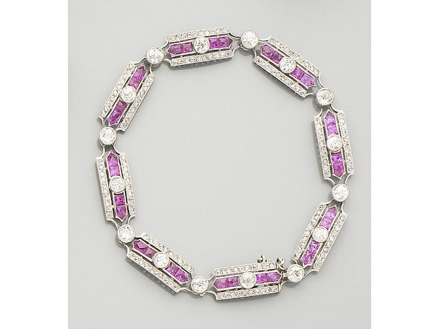 An early 20th century ruby and diamond bracelet, French