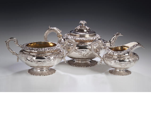 A William IV three piece Tea Sevice,  by Leonard Urquhart, Edinburgh 1833