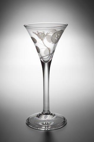 A Jacobite Wine Glass, circa 1750,