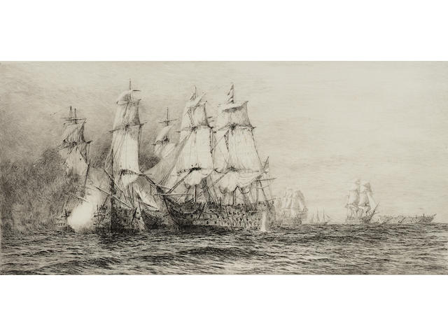 William Lionel Wyllie Battle of Trafalgar Etchings, the set of three, each on J Whatman laid, with margins, each signed in pencil; minor surface defects, faint time staining, 180 x 375mm (7 1/8 x 14 3/4in)(PL) 3 unframed