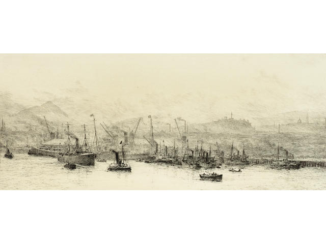 William Lionel Wyllie Leith Docks Etching, on watermarked cream wove, signed in pencil; faint mount staining, 160 x 380mm (6 1/4 x 15in)(PL) Together with one other by the same hand 'Golfing on the sands below St Andrews', signed in pencil 2 unframed