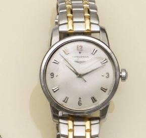 Longines: A gentleman's stainless steel automatic wristwatch
