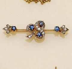 A late Victorian sapphire and diamond bar brooch