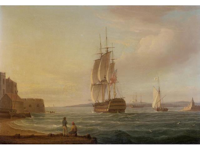 Thomas Whitcombe (British,......) a 74-gun man-o-war leaving Portsmouth harbour ???? 38 x 53.3cm. (1