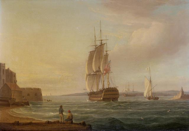 Thomas Whitcombe (British, c.1752-1824) A 74-gun man-o-war leaving Portsmouth harbour 38 x 53.3cm. (15 x 21in.)