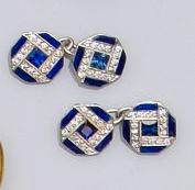 A pair of sapphire, diamond and blue enamel cufflinks